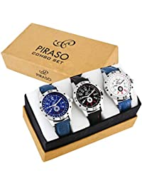 PIRASO Analogue Blue Dial Men's Watch Combo Set of 3