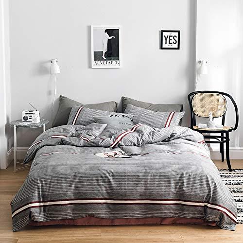 BFMBCH Sommer Baumwolle vierteilige Set 220 * 240 Bettbezug einfache Blätter Bettwäsche Bettwäsche Kit W1 180cm * 220cm -