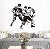 ZHANGKE Fai da Te Wall Sticker, Hockey Player On Ice Decorazione della casa Staccabile in Vinile Paint Parete Sport Accessori 58 * 59Cm