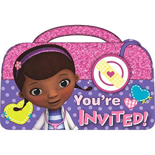 (Doc McStuffins Birthday Party Invitations Cards Supply (8 Pack), Pink/Purple, 4 1/4 x 5 7/9.)