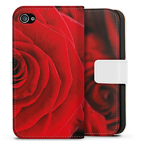 Apple iPhone X Silikon Hülle Case Schutzhülle Rot Rosen Blumen Sideflip Tasche weiß