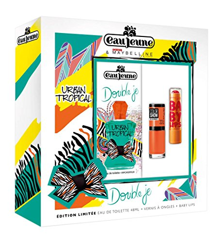 EAU JEUNE Coffret Double Je Urban Tropical, Eau de Toilette 48 ml + Vernis ColorShow + Baby Lips MAYBELLINE