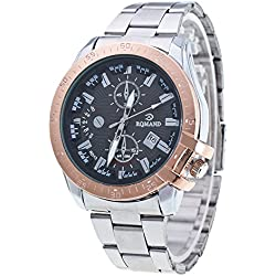 Contever® Mens Quartz Business Casual Wrist Watch with Black Dial Date Analogue and Silver Stainless Steel link Bracelet