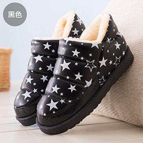 Doghaccd Zapatillas, Invierno Impermeable Pu Cuero Hombres Y Mujeres De Algodón Maduro Botas De Nieve Estudiantes Cortos Y Apretados Calientes Zapatos Planos De Algodón Zapatos De Mujer Cuero Negro Star4