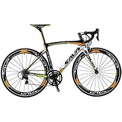 SAVA Bicicleta de Carretera de Fibra de Carbono 700C SHIMANO R3000 18 -Velocidad Sistema 8.6kg/18.99lb Bicicleta ultraligera (Negro Blanco Naranja, 520MM)