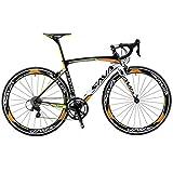 SAVA Kohlefaser Rennrad 700C SHIMANO 3000 18-Gang-Kettenschaltung 8.6kg/18.96lb Ultraleichtes Fahrrad (Orange, 520mm)