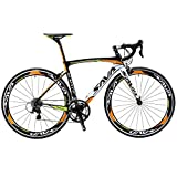 SAVA 700C Bicicleta de Carretera de Fibra de Carbono SHIMANO 4700 20-Velocidad Sistema (Negro Blanco Naranja)