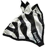 Bucas - Máscara anti insectos para caballos, diseño de cebra Zebra Stripe Talla:extra-large