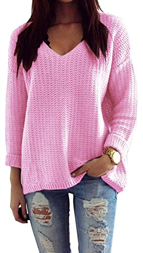 Mikos*Damen Pullover Winter Casual Long Sleeve Loose Strick Pullover Sweater Top Outwear (627) *Hergestellt in der EU - Kein Asienimport* (Rosa)