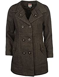 Lee Cooper – Abrigo de lana para mujer marrón chaqueta abrigos y chaquetas de ropa, marrón, UK 8 (XSmall)