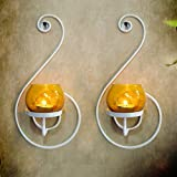 Collectible India Set Of 2 Iron White Decorative Wall Sconce Candle Holder   Hanging Tealight Holder For Home Living Room Bedroom Birthday Wall Decoration