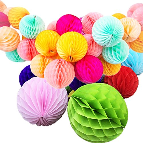 Gifts Online Honeycomb Party Decoration Balls - Multicolour 10 Inchs (Set Of 6)