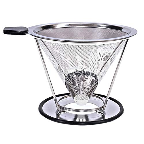 KITCHY Stainless Steel Coffee Drip Cone With Separate Stand Paperless Pour Over Coffee Maker Coffee Filter For Drip Coffee Maker 2-4Cup: Tulip