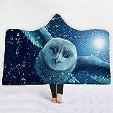 Warmer Winter Starke mit Kapuze Decke, warmen weichen Plüsch-Mantel-Kap-Komfortabler Wearable Wurf Plüsch mit Kapuze 3D gedruckt,J3,150 * 200cm