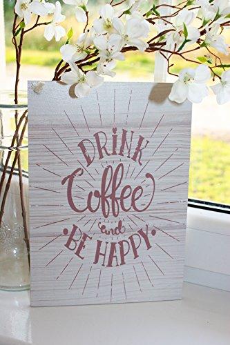 BEBE CAFÉ y sé FELIZ Placa decorativa inspiracional, Decoración para el hogar, placa para pared, letrero colgable de madera