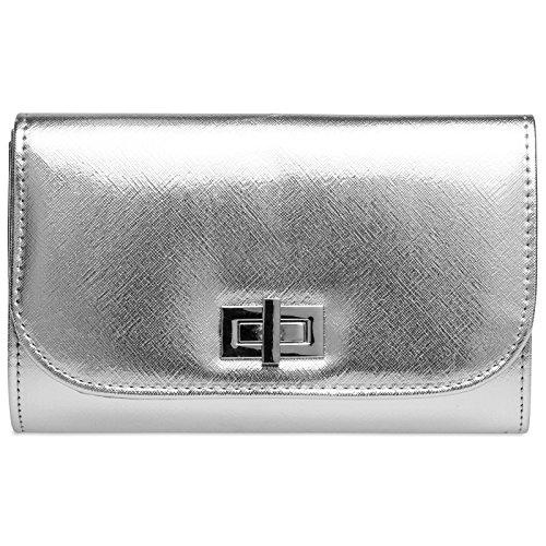 CASPAR TA389 elegante Damen Envelope Clutch Tasche/Abendtasche mit langer Kette und Drehverschluss, Farbe:silber;Größe:One Size