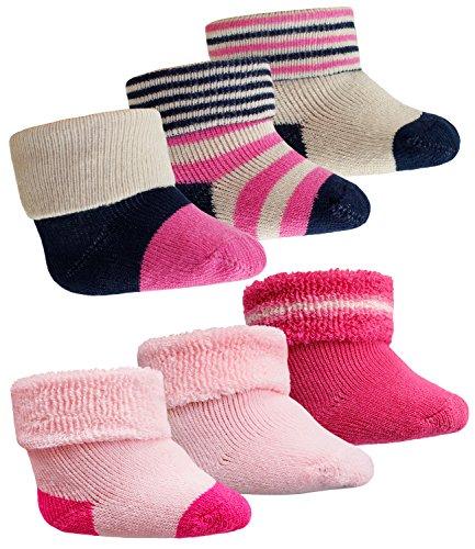 Ewers 6er Pack Babysöckchen Erstlingssöckchen Frotteesöckchen Sparpack Söckchen Mädchen für Babys (EW-24276-S17-BM0-9001-9040-OS) in Pink-Pink-Gestreift, Größe OS inkl. EveryKid-Fashionguide (Mädchen Kinder Geboren Schuhe)