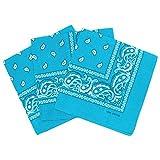 Lot de 3 bandanas paisley - Foulard coton motif cachemire vendu par 3 - Turquoise - Taille Unique