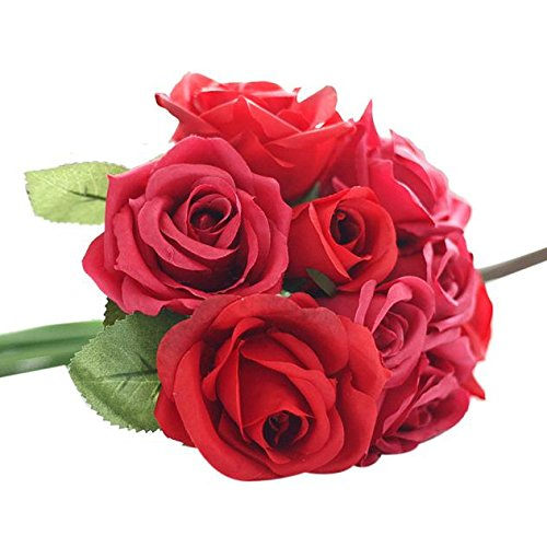 Kiminana Home Decor Bouquet de Fleurs artificielles en Soie 9 têtes Fausses Feuille Rose Mariage One Size Rouge