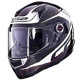 Motorradhelm Doppellens mit Airbag-Anpassung Mit Lens Lock Carbon Fiber Helm Outdoor Riding Helm Street Bike Racing Kollision Helm,002,XL