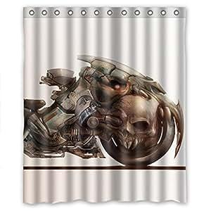 Moto et crâne Rideau de douche 60 cm (l) x 72 cm (h)