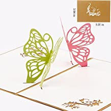 Papier Spiritz Papillon 3d Pop Up Carte de voeux carte postale assorti enveloppe découpé au laser carte de remerciement faite main Joyeux anniversaire Cadeau pour la fête carte postale (lot de 1)