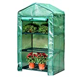 HAIPENG-gewächshaus Treibhaus Foliengewächshaus Tomatenhaus Pflanzenhaus Frühbeet Gartenarbeit Verstärkt PE Abdeckung Mit Aufrollen Tür (Farbe : Green, größe : 69x49x125cm)