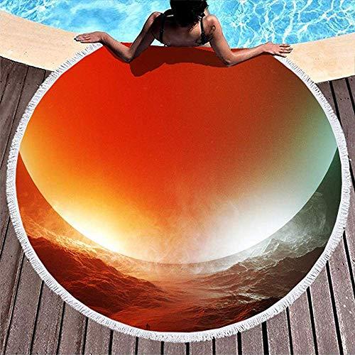 Leo-Shop Magischer Raum rote Sonne menschliches nebeliges Gebirgsprint-Sand-Beweis-rundes Strand TowelCute RoundBeach werfen runde Yoga-Tuch-Matte