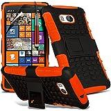 ( Orange ) Nokia Lumia 930 Tough Survivor Fest Rugged Shock Proof Heavy Duty Case W / Back-Stand, LCD-Display Schutzfolie, Poliertuch und Mini-versenkbaren Stift durch Spyrox