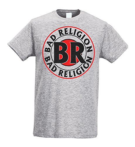 LaMAGLIERIA Herren-T-Shirt Slim - Bad Religion - Circle Logo - Maglietta 100% Baumwolle Ring Spun, L, Grau