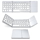 Bluetooth Tastatur mit Touchpad, Jelly Comb Faltbare Dreifach Kabellos Ultra Dünn Ultra-Slim Tragbare Bluetooth 3.0 Tastatur [QWERTZ Deutsch-Layout] mit Touchpad für iOS, Android, Windows, PC