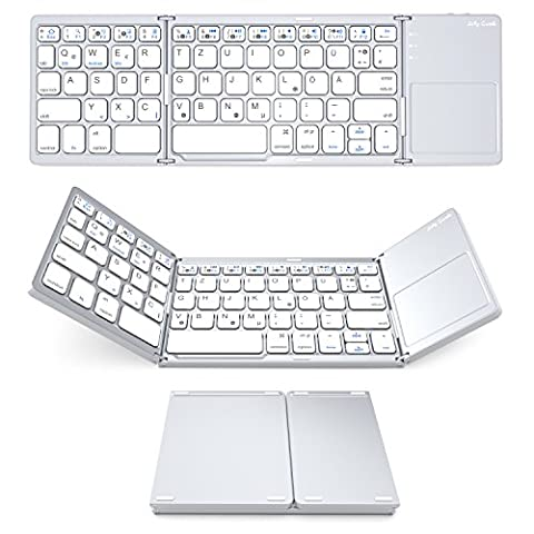 Bluetooth Tastatur mit Touchpad, Jelly Comb Faltbare Tri-fold Dreifache Kabellose Ultra Dünne Ultra-Slim Tragbare Bluetooth 3.0 Tastatur [QWERTZ Deutsch-Layout] mit Touchpad für iOS, Android, Windows, PC, Tablets und Smartphone,