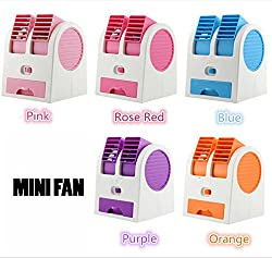 BiabaCollection Creations Mini Small Fan Cooling Portable Desktop Dual Bladeless Air Conditioning Fan Usb Assorted ( Free Credit Card Holder)