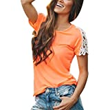 TAORE Women Casual Short Sleeve Patchwork Shirt Lace Top Lee Blouse (L