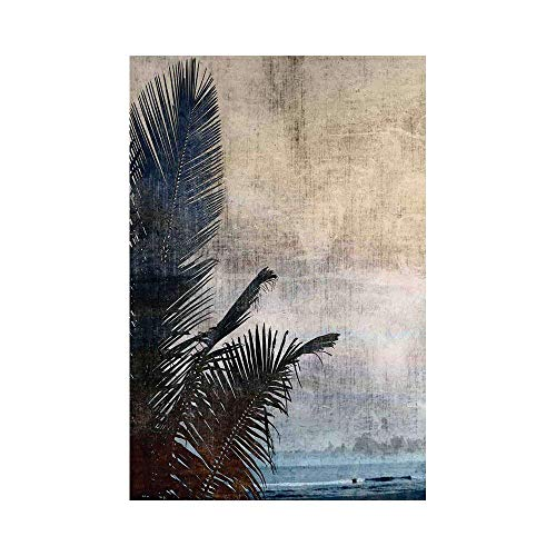 Flag Banner Hawaiian Decorations Palm Tree Leaves on Grunge Background with Sea Vintage Waterscape Illustration Beige Navyor Decorative Garden Flag for Outdoor Lawn and Garden Hom ()