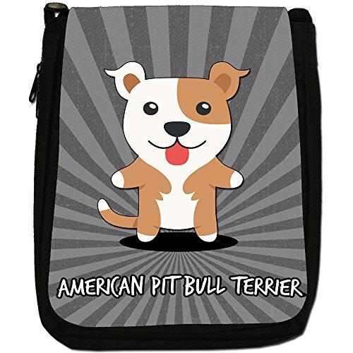 American Cartoon Dogs-Borsa a tracolla in tela, colore: nero, taglia: M Nero (American Pit Bull Terrier)