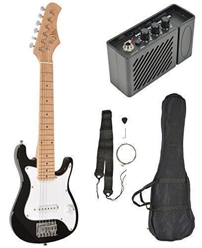 Kinder E-Gitarre Schwarz mit Verstärker Lautsprecher Tasche und Gurt 4-8 Jahre