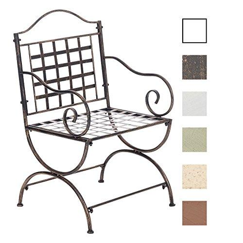 Clp sedia da giardino lotta in ferro - sedia da balcone stile rustico nostalgico decorativo – sedia outdoor con braccioli e schienale - sedia shabby chic da terrazzo con poggiapiedi bronzo