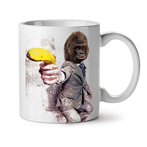 (Funny Gorilla Suit Monkey Banana weiß Tee Kaffee Keramik Becher 11OZ Wellcoda)