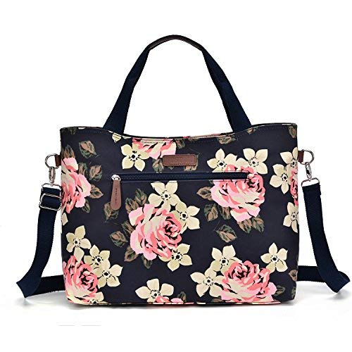 15.6 inch Fashion Lightweight Laptop Tote Bag for Women with Shoulder Strap, Chic Laptop Tote Bag with Zipper for Ladies, Laptop Suitcase Purse for Women Work (Deep Blue)