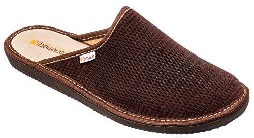 Bosaco pantofole ciabatte uomo casa pantofola ciabatta suola di memoria (43 eu, perforato marrone scuro)