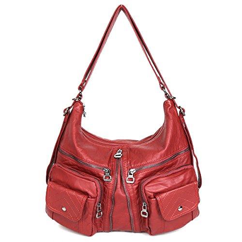 Imagen de 21kbarcelona top bolsos con cremallera bolsillos múltiples lavado bolsos de cuero bolsas de hombro  xs160989 rojo