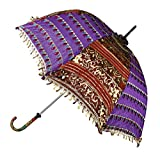 Jaipuri Handmade Embroidery Work Silk Umbrella 30 X 34 Inches