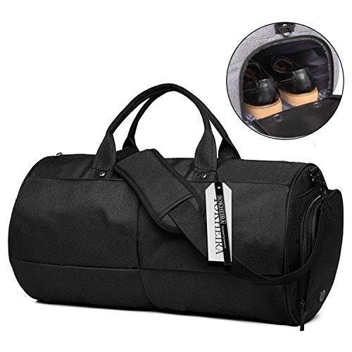 IOKHEIRA 20L Stilvolle Sporttasche Reportersche mit Schuhfach und Trinkflaschen-Halter Hochwertige Canvas Weekender Tasche für Damen und Herren Schwarz