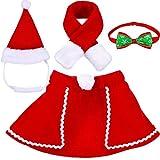 Animale Domestico Regolabile Cappello Babbo Natale, Mantello, Sciarpa e Collare Cravatta Papillon Costume di Natale per Cucciolo Gattino Gatti Cani Animali Domestici