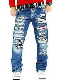 Cipo & Baxx Herren Jeans Mens Pants Freizeit-hose Clubwear Destroyed mit Gürtel