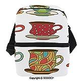 SCOCICI Cooler Bag Colorful Vivid Teacup Design Cartoon Drawing Style Breakfast Brunch Illustration