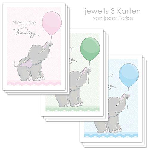 """9 Glückwunschkarten zur Geburt\""""ELLY ELEFANT\"""" DIN A6 / Grußkarten Baby DIN A6 / je 3 Stück in rosa grün und hellblau"""