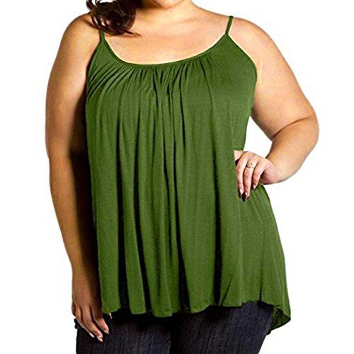 VEMOW Sommer Frauen Damen Elegante Lose Leibchen Damen Einfarbig Tank Tops Plus Größe S ~ 6XL Vintage Tunika Hemd T-Shirt (EU-52/CN-5XL, E)