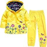 Timlung Enfant Bébé Fille Manteau Imperméable à Capuchea + pantalon de pluie Jaune 6-7ans
